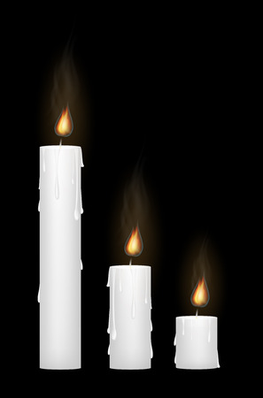 white candle: a white candle on a black blackground