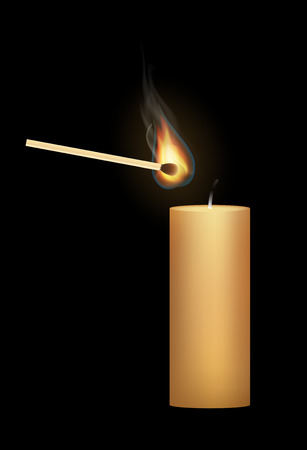 glow stick: a candle with a match