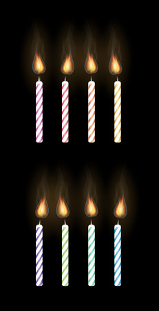 small group of objects: party candle on a black background