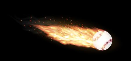 baseball cartoon: baseball burning on a black background Illustration