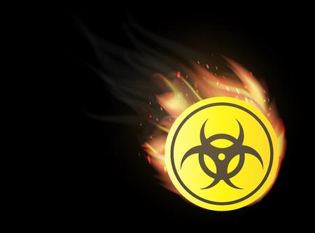 radioactive avec le feu brûlant