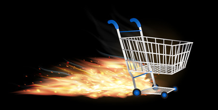 quick money: shopping cart with fire burning