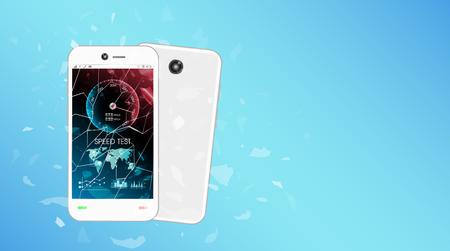 speed test: broken glass screen smartphone with speed test interface