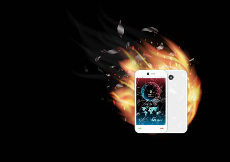 broken glass screen smartphone with speed test interface and burning fire