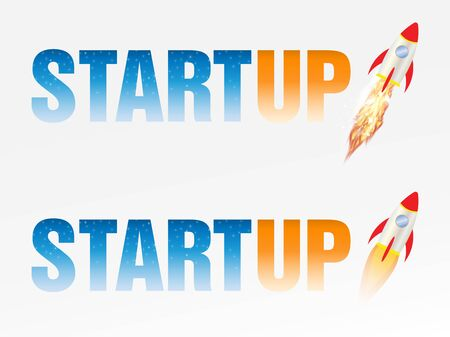 Startup logo with rocket
