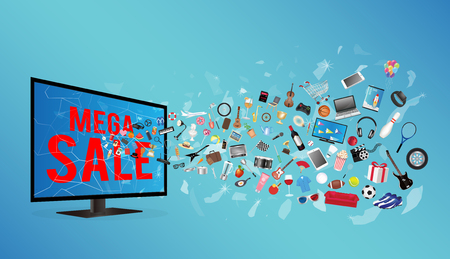 broken screen: broken screen television with mega sale and general object floating Illustration