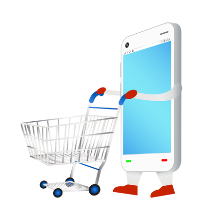 e pay: smartphone with shopping cart