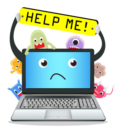 computer help: laptop need help from virus computer Illustration
