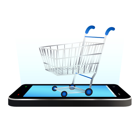 shopping cart: smartphone with shopping cart