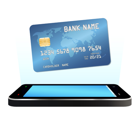 smartphone with credit card  floating