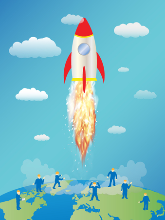 mini: toy space rocket launching and mini worker on earth