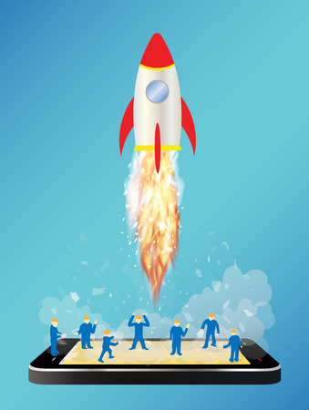 launching: smartphone with toy space rocket launching and mini worker