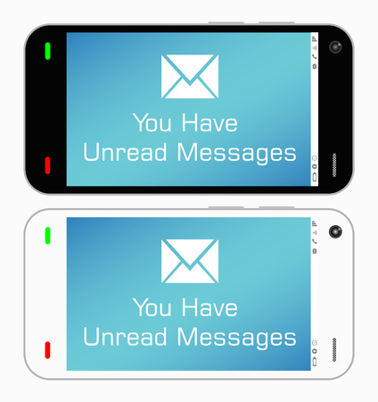 unread: Smartphone with unread messages Illustration