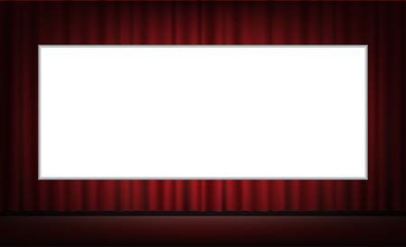 movie screen: white movie screen with red curtain background Illustration