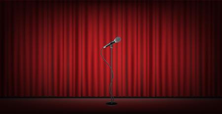 asta del microfono sul palco con sfondo sipario rosso Vettoriali