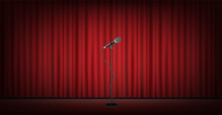 microphone stand on stage with red curtain background Stock Vector - 60923724
