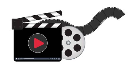 clapperboard: clapperboard with video streaming logo