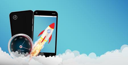 Smartphone with toy rocket Vektorové ilustrace