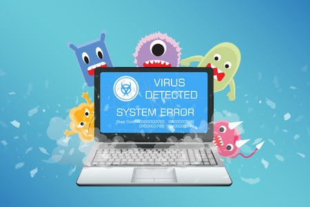 broken laptop with virus computer detect Illustration