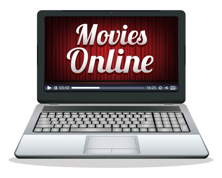 laptop screen: laptop with movies online on a screen