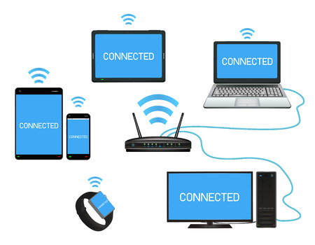 smart device and computer connect with router Çizim