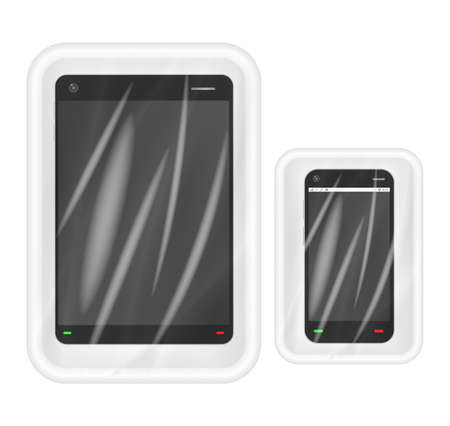 polystyrene: smartphone and tablet in White polystyrene packaging Illustration