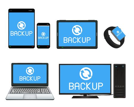 backing up: smart device and computer backing up data Illustration
