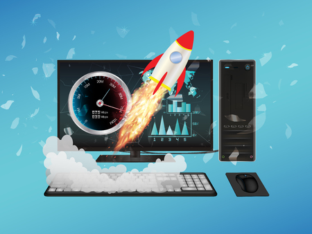 boost: desktop computer with speed boost Illustration