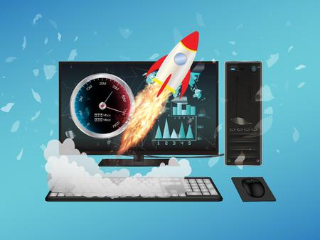 isp: desktop computer with speed boost Illustration