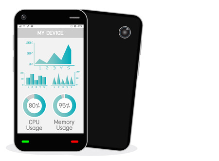 manager: smartphone with task manager Illustration