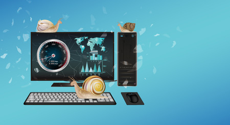 slow: slow desktop computer with snail Illustration
