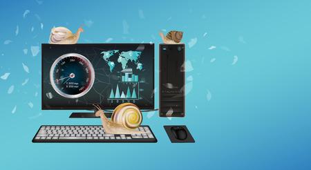 throttle: slow desktop computer with snail Illustration
