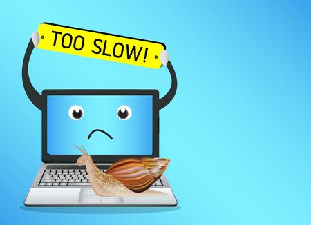 Ślimak na powolnym laptop Ilustracje wektorowe