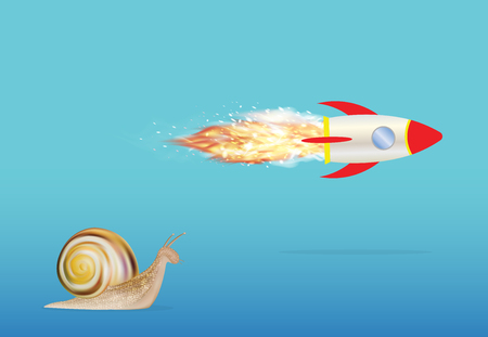 slow: slow snail and speed rocket Illustration