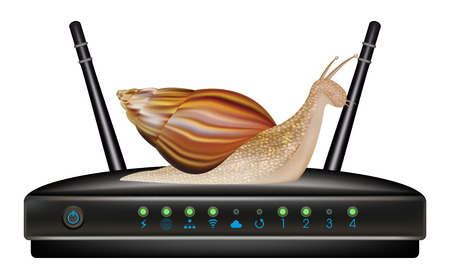 adsl: slow speed router with snail Illustration