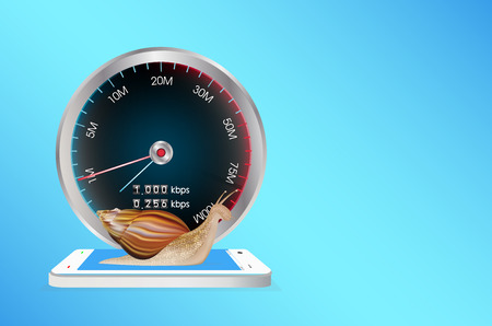 3g: smartphone with speed meter and snail