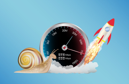 internet speed meter with rocket and snail  イラスト・ベクター素材
