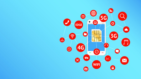 3g: smartphone and sim card with apps icon floating
