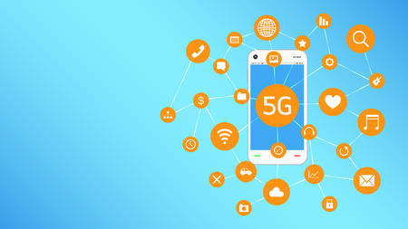 3g: smartphone and 5G with apps icon floating