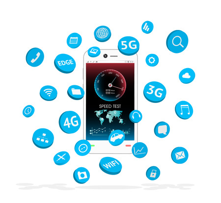 3g: smartphone with apps icon floating