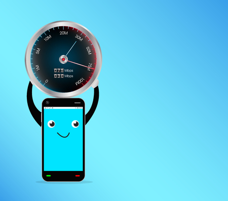3g: smartphone with speed test meter Illustration