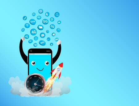 smartphone with speed meter and apps icon floating