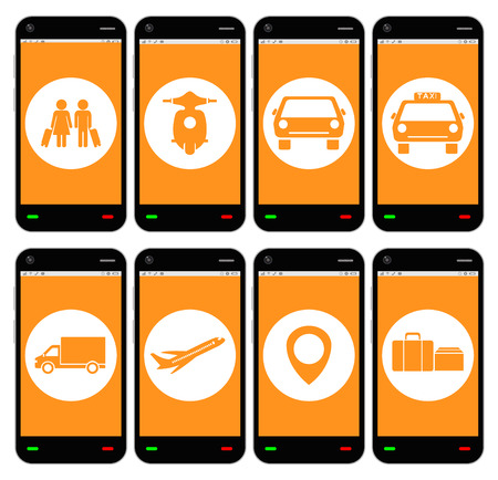 smartphone with transport apps icon Illustration