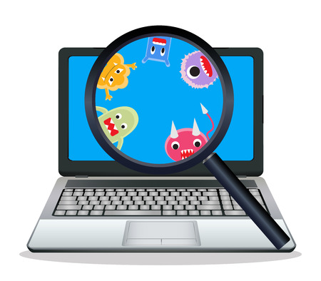 magnify glass: magnify glass found virus on laptop