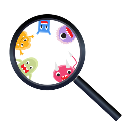 magnify glass: magnify glass with virus cartoon Illustration