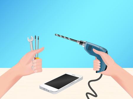 hand using repair tool and electric drill to hack smartphone Illustration