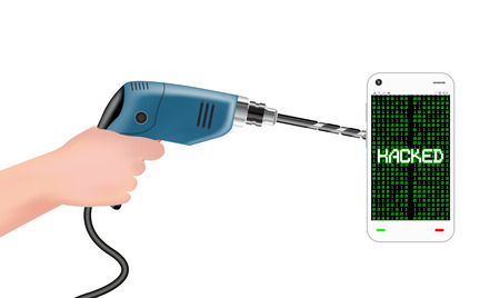 hack: hand using electric drill to hack smartphone