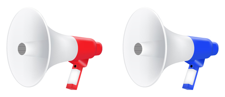 red nd blue megaphone vector