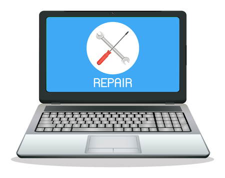 computer repair: laptop computer with repair  on screen