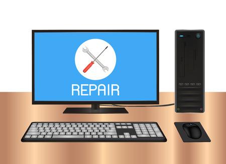 computer repair: desktop computer with repair  on screen